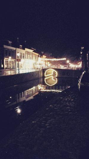 Canal Night Illuminated Water Netherlands Harlingen, Netherlands