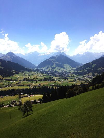 From My Point Of View Landscape Tranquil Scene Tranquility Mountain Scenics Sky Non-urban Scene Beauty In Nature Nature Blue Mountain Range Cloud - Sky Green Color Countryside Schweiz Switzerland Swissgirl Railaway Gstaad Tourism Travel Destinations Outdoors Day Green