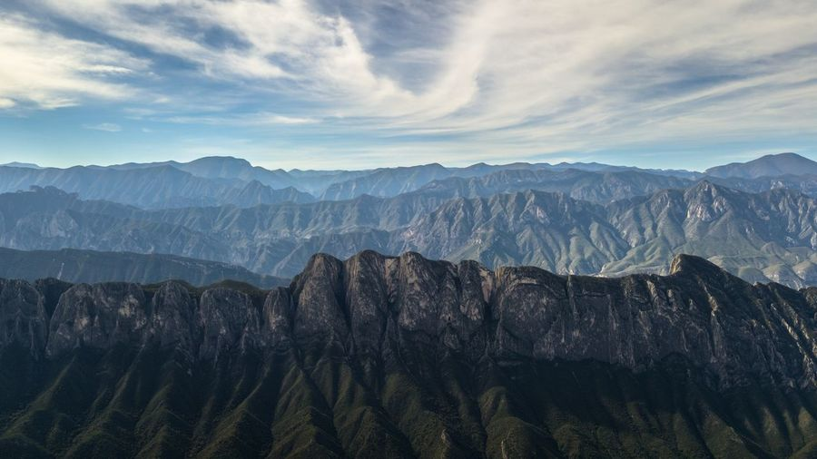 Panoramic view of mountain range against cloudy sky