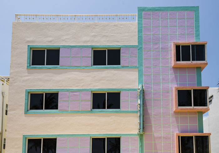 Art deco building, close up image, of the Miami Architectural district, Florida, United States Architectural Feature Architecture Art Deco Buildings Color Day District Florida Light Miami Miami Beach Outdoors Pastel Colors Tourism United States