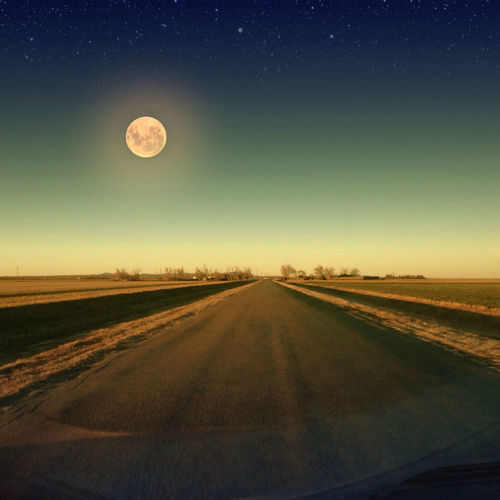 Country Road Full Moon Astronomy Beauty In Nature Clear Sky Half Moon Infinity Landscape Moon Nature Night No People Outdoors Road Scenics Sky Space The Way Forward Tranquil Scene Tranquility Transportation