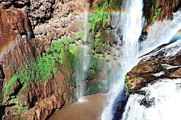 Nature Power In Nature Travel Destinations Morocco Colors Rainbow Beauty In Nature Water Mountain GREEN LIFE Waterfall Ouzoud Falls