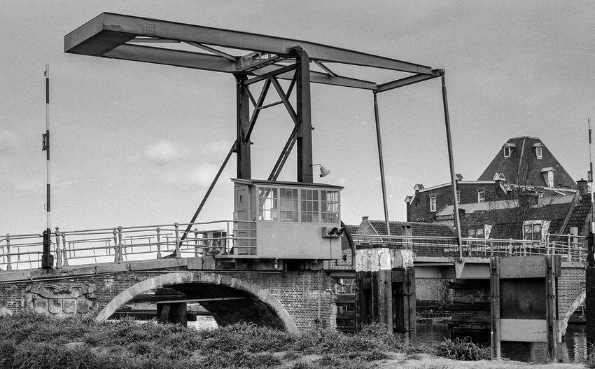 Overschie 1977 Analogue Photography Overschie Spaanse Polder Zenit E Analog Photography Architecture B&w B&w Photography Bridge Bridge - Man Made Structure Building Exterior Built Structure Metal Nature No People Old Outdoors Sky Transportation Water