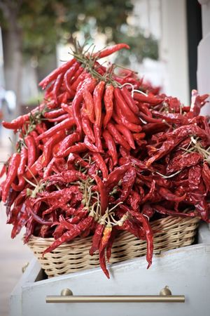 A basket full of red Guindilllas in Mallorca Chili Pepper Chilies EyeEmNewHere Guindilla Guindillas Hot SPAIN Abundance Basket Close-up Day Food Food And Drink Freshness Healthy Eating Malllorca Market Market Stall No People Outdoors Peppers Red Small Business Zoom