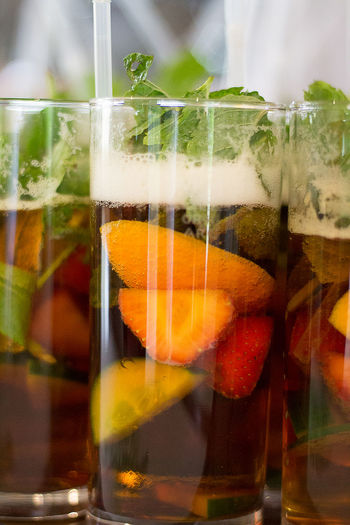 Close-up of fresh juices