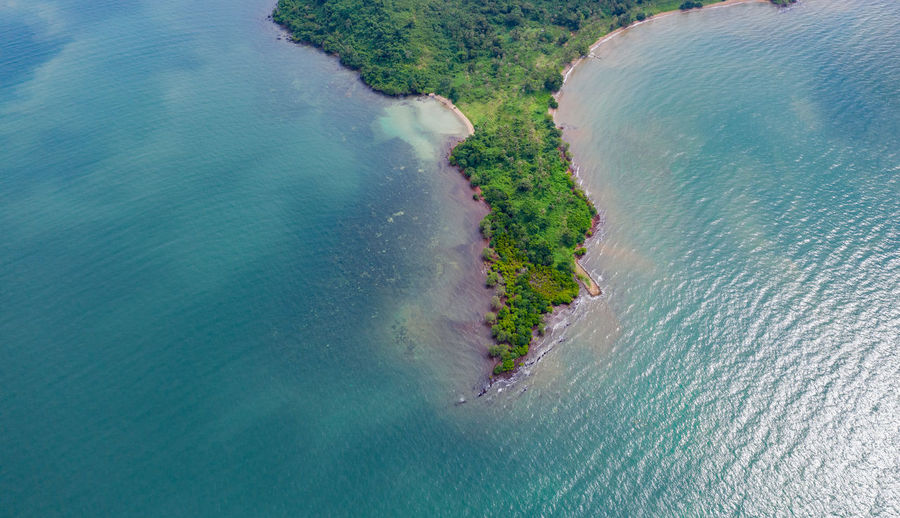 Aerial view of rabbit island and blue sea sky background in cambodia