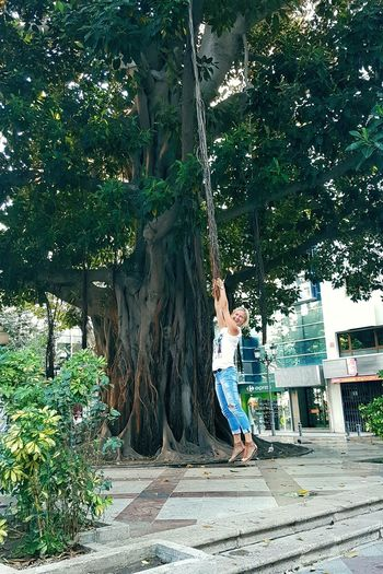 Tree Day Outdoors One Person Growth Adult Tree Trunk Nature Full Length Travelling Green Jeans Hanging Liana Happyness😊 Second Acts Be. Ready.