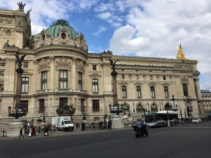 Travel Travel Destinations Tourism Capital Cities  Building Exterior Architecture Mode Of Transportation Transportation Built Structure City Cloud - Sky Motor Vehicle Sky Land Vehicle Car Incidental People Street Road Nature The Past History Building Outdoors Palais Garnier Opéra