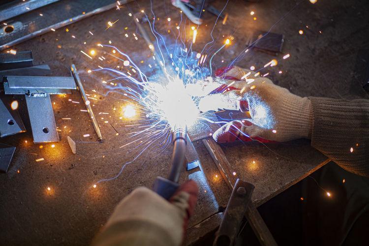 Metal welding.