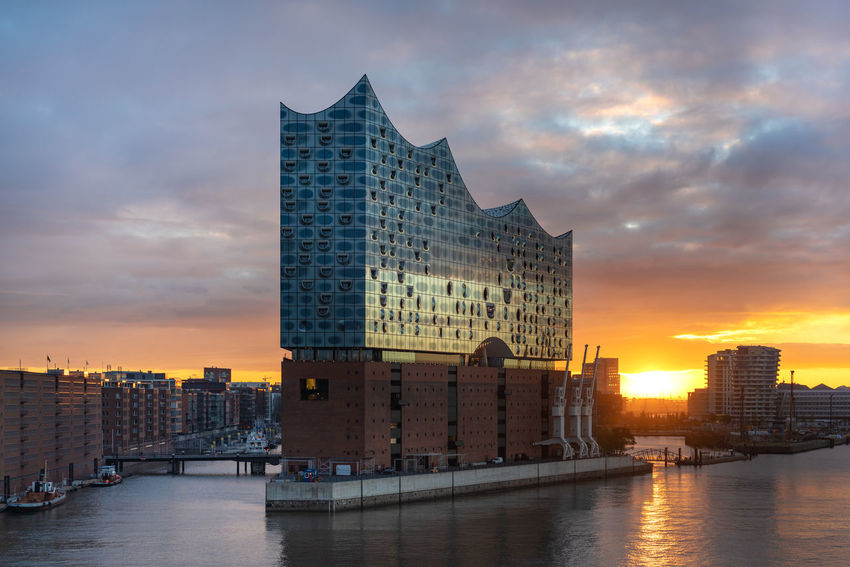 Morning Morning Light Architecture Building Building Exterior Built Structure City Cityscape Cloud - Sky Elbe Elbphilharmonie Financial District  Modern Nature No People Office Office Building Exterior Outdoors Reflection River Sky Skyscraper Sunset Water Waterfront