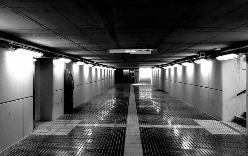 Empty corridor of subway