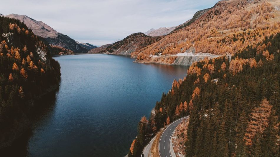 Lake Lake View Water Mountain Beauty In Nature Nature Outdoors No People Aerial Photography Dji Alps Switzerland Autumn Colors Fall Fall Beauty Fall Colors Autumn Landscape_photography Fresh On Market 2017