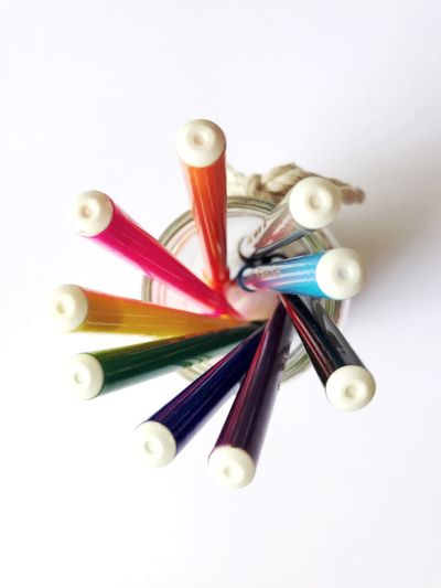 Colorful White Background No People Large Group Of Objects Studio Shot Close-up Multi Colored Indoors  Day Magicpen Colorpencils Jar Round