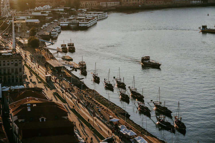 Nautical Vessel Transportation High Angle View City River Travel Nature Day Outdoors Harbor Porto Portugal Sunset Evening Shadow Sunlight Travel