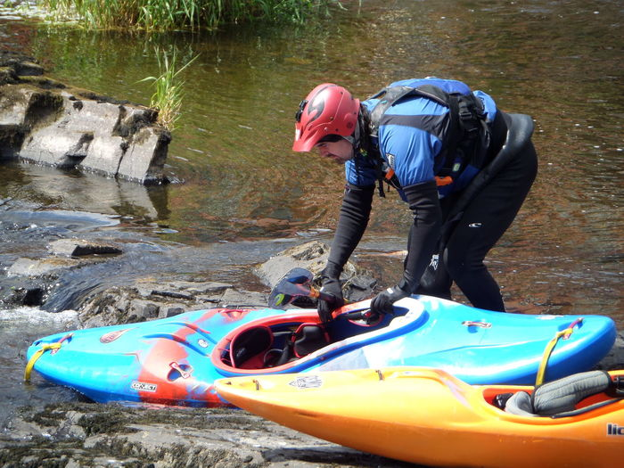 Boat. Extreme Sports kayak One person River Water boating. Fast flowing river.