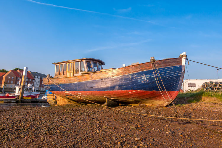 Whitby Whitby Harbour Whitby View Whitby North Yorkshire North Yorkshire Fishing Boat Harbour Harbour View Nautical Vessel Sky Clear Sky Ship Anchored Sunlight Abandoned Moored No People Mode Of Transportation Transportation Land Day Sailboat