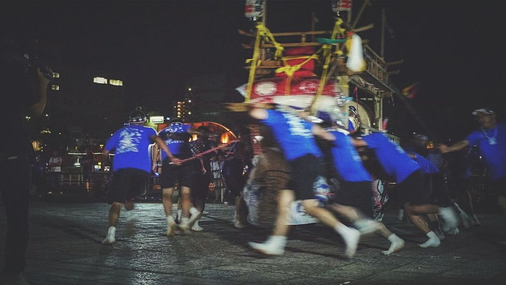 """Practice time of a October Japan Festival , """"Nagasaki kunchi"""" : Okunchi hiroba, Ohato Nagasaki City. Night Photography People Are People Out Of Focus Kawabune ( Enokizu machi ) Turning from October 7-9 the presentation of the festival / GX1 50mm Last Saturday Night"""