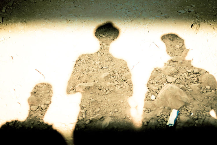 Men Friendship Silhouette Outdoors Sunny Day Shadows And Sunlight Shadow-art Shadowself