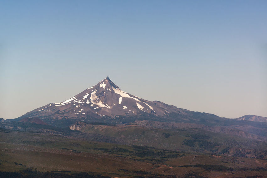 View of Mt. Jefferson in the summer in Central Oregon Oregon Bend Mt Jefferson Mount Jefferson Jefferson Mountain Cascades Cascade Mountains Volcano Landscape Northwest Pacific Northwest  Summer Forest Pine Tree Pine Trees Mountain Peak Mountain Range USA No People Idyllic Nature Beauty In Nature Sky Clear Sky