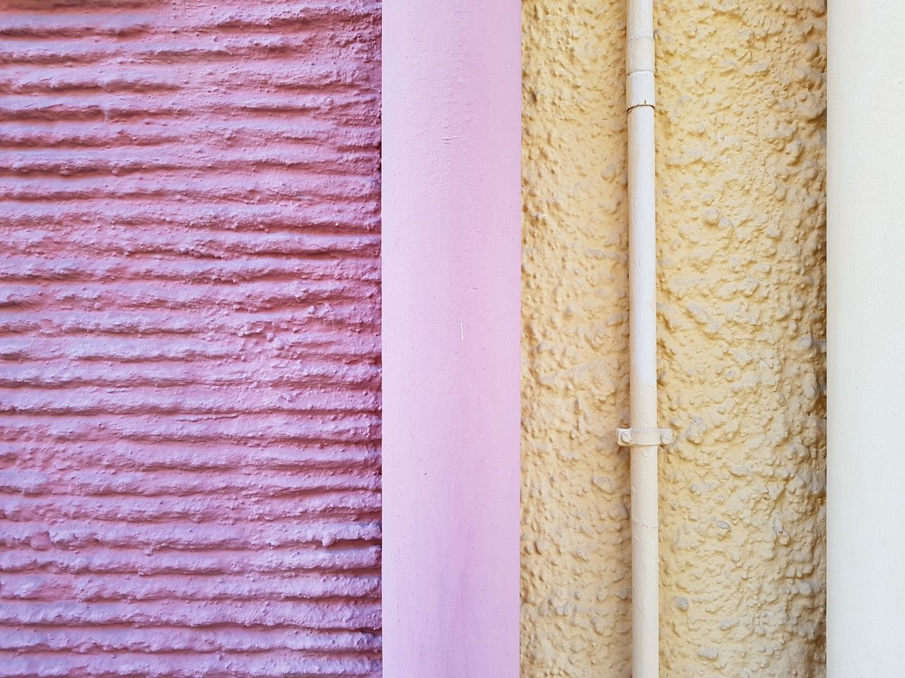 full frame, backgrounds, close-up, no people, pattern, textured, wall - building feature, indoors, white color, still life, pink color, architecture, built structure, yellow, side by side, day, beige, red, multi colored, order