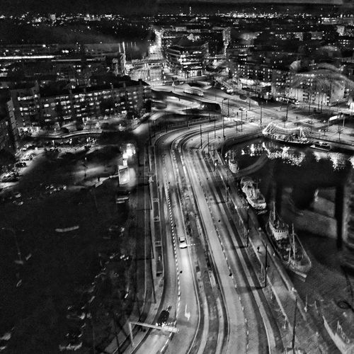 Good evening, Helsinki. Road Transportation No People Finland Helsinki Helsinki, Finland Black & White Cityscape Monochrome Night Photography Night Night Life Night Streets