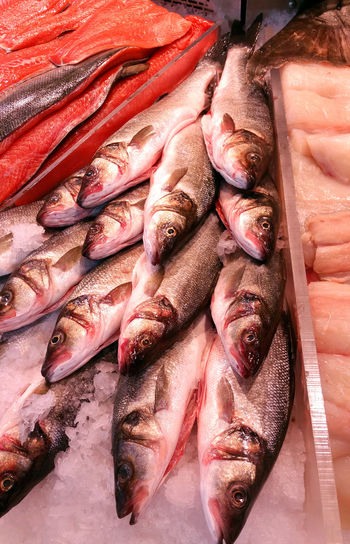 High Angle View Of Dead Fishes For Sale At Butcher Shop