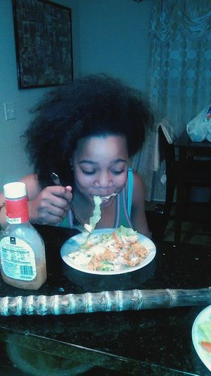 The Human Condition my baby eatin salad and chopped chicken...yay