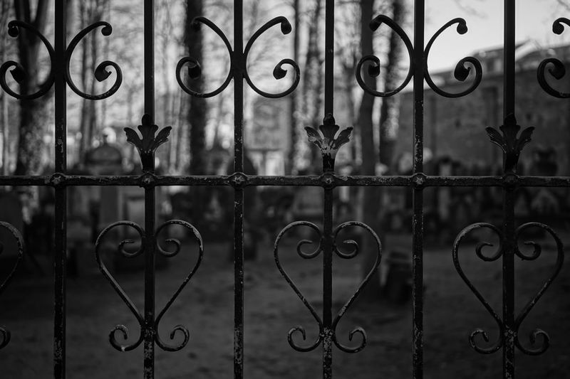 Metal gate in front of old jewish cemetery