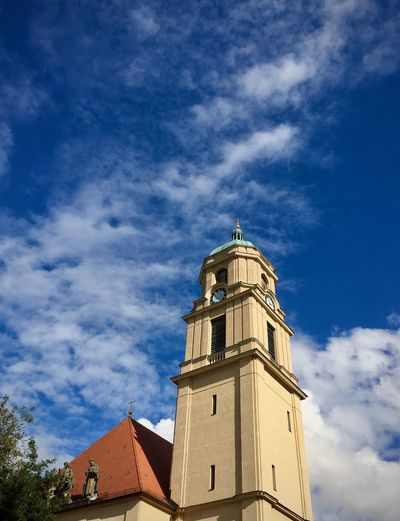 Architectural Feature Architecture Berlin Blue Blue Sky Building Exterior Built Structure Church City Life Cloud Cloud - Sky Cloudy Cross Day Exterior History Outdoors Roof Rooftop Sky Sky And Clouds Summer Tower Towers And Sky Tree