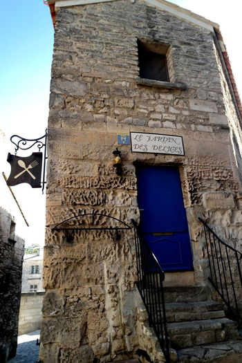 Architecture Blue Door Building Exterior Built Structure Clear Sky Doorporn Eye4photography  EyeEm Best Shots EyeEm Gallery EyeEmBestPics France History Les Baux De Provence Lesbauxdeprovence Low Angle View Old House Old Houses Oldfashioned Provence Stairway Stone Material Stonewall The Week On EyeEm