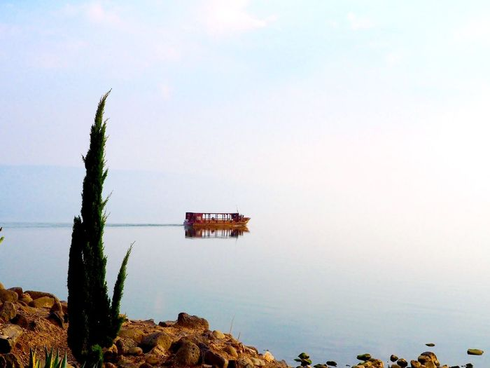 Water Sky Nature Sea Tranquility Beauty In Nature Scenics - Nature Tranquil Scene Day No People Plant Rock Outdoors Non-urban Scene Nautical Vessel Sea Of Galilee
