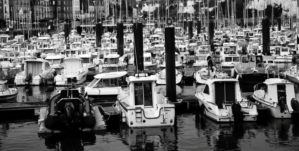 Sea Boats Monochrome Photography Harbor Outdoors Water Traveling Taking Photos Urban Blackandwhite Nautical Vessel Still Life Dieppe Normandie Finding New Frontiers Traveling Home For The Holidays Miles Away