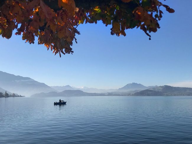 Mountain Beauty In Nature Nature Scenics Outdoors Tranquility Day Blue Tranquil Scene Water Lake Leaf No People Tree Mountain Range Autumn Clear Sky Sky Nautical Vessel Travel Destinations Switzerland Lost In The Landscape Be. Ready. An Eye For Travel