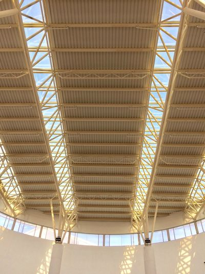 Built Structure Architecture Ceiling Roof Indoors  No People Low Angle View Pattern Architectural Feature Sunlight Design Building Modern City Roof Beam