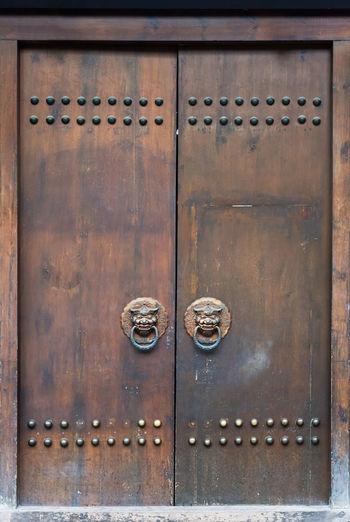 chinese old door Doors Architecture Backgrounds Building Exterior Built Structure Chinese Doors Chinese Door Chinese Door Knocker Close-up Closed Day Door Door Knocker Entrance Lock Metal No People Old Outdoors Padlock Protection Safety Security Wood - Material