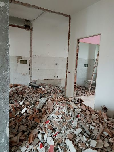 Total Renovation Home Renovation  Demolition Walls Down Walls Construction Company Construction Site Construction Building Interior Home Refurbishing Abatement Walls Renovation Rubble More Space Renovate House Architecture Home Improvement Home Interior Indoors  Scaffolding Interior Architecture Building Interior