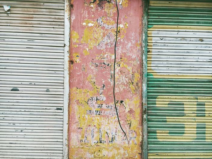 jaipur, india in rajasthan Abstract Photography Architecture Bad Condition Blue Building Exterior Built Structure Closed Cocpy Concrete Corrugated Iron Damaged Day Deterioration Full Frame Obsolete Old Outdoors Peeling Off Red Shutter Wall - Building Feature Weathered