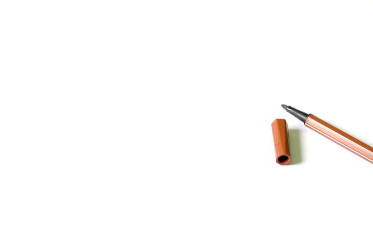 brown pen on white background with copy space. Brown Pen Close-up Copy Space Copy Space Indoors  No People Stationary Studio Shot White Background Writing Writing Instrument