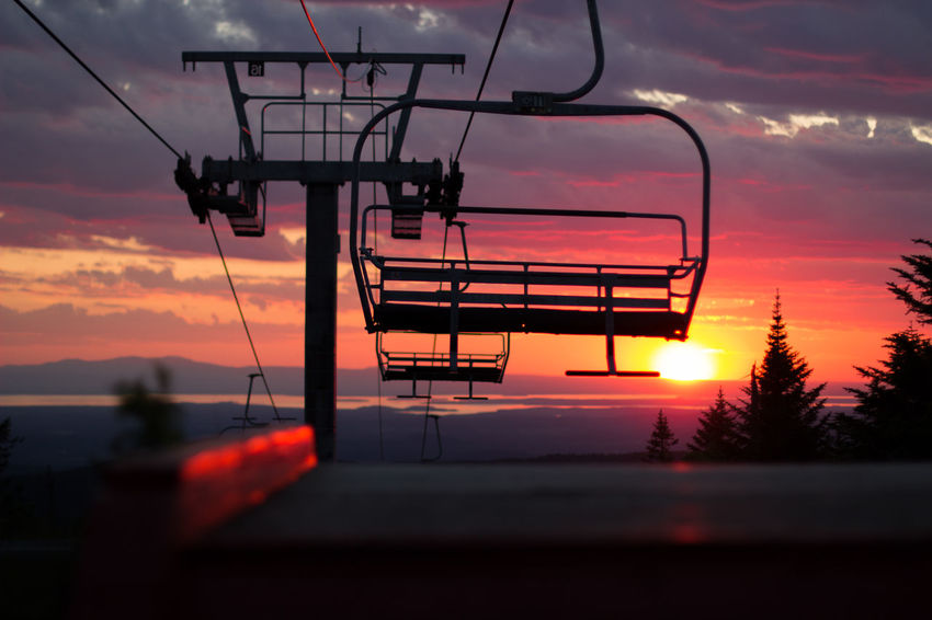 Adventure Beauty In Nature Cloud - Sky Dusk Nature No People Outdoors Outside Scenics Silhouette Ski Lift Skiing Sky Sunset Trail Tree Vacation Vacations