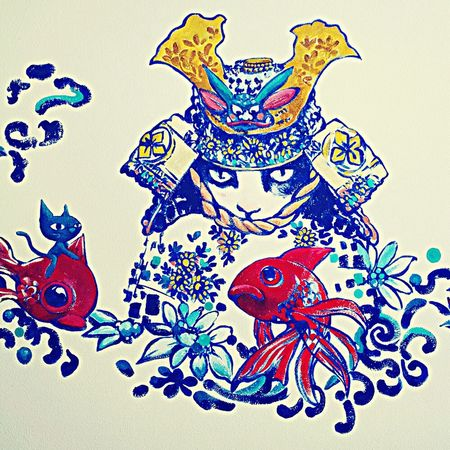 Check This Out Art Hanging Out Cat Samurai