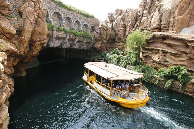 Boat on rock in river