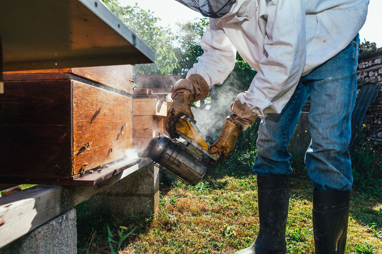 Man Using Bee Smoker On Hive