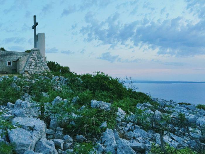 St Ivan, peak of the hill above Veli Losinj, with chapel built 1755. Dawn. Hill Chapel Cross Church Landscape Nature Dawn Seaside Calm The Great Outdoors - 2015 EyeEm Awards