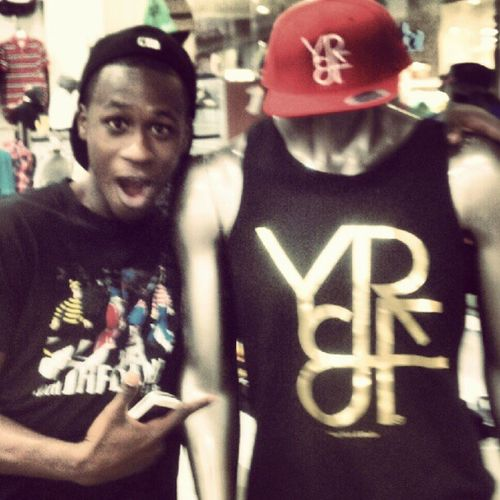 The bro D took a pic in REVOLUTION with a Gold Edition Tank & Red YR&F™ Snapback.. Go get your YR&F™ gear at Plaza Bonita mall.. Blessed  InStoresNow