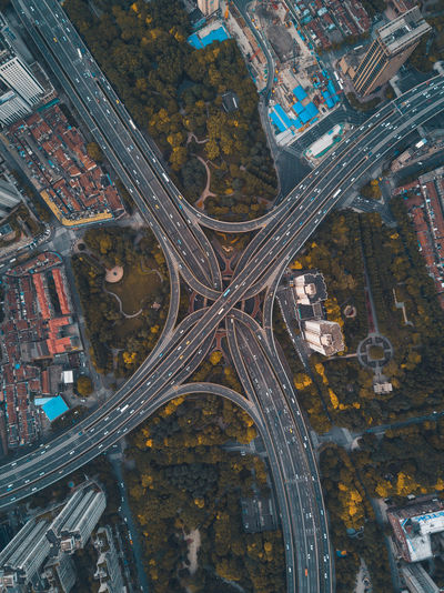 Aerial View Building Exterior City Modern No People Road Road Intersection Transportation