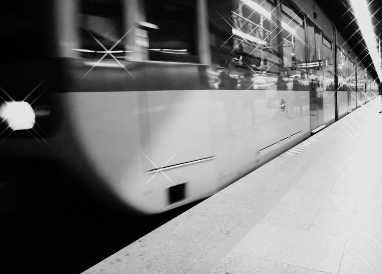 B&w Black & White City Life Creative Light And Shadow Day From My Perspective Indoors  Lifestyles Metro Station Modern My View No People Public Transport Train Photography Train Platform Train Station Transportation Window Reflection_collection EyeEmNewHere