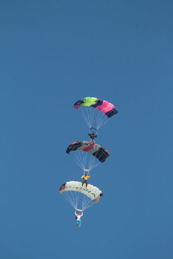 Adventure Blue Canopy Formation Clear Sky Day Extreme Sports Flying Formation Flying Freedom Fun Low Angle View Mid-air Multi Colored Parachute Skydiving Three Of A Kind