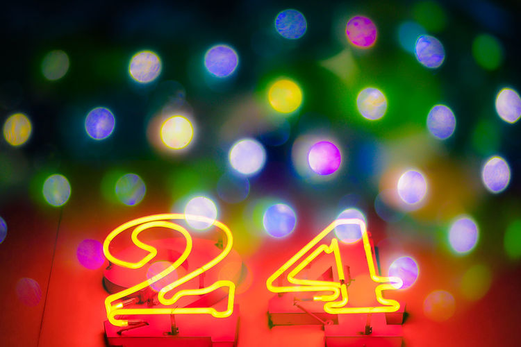 24 24 Hours Neon World Bokeh Balls Capital Letter Celebration Close-up Communication Glowing Illuminated Led Lights  Light Light - Natural Phenomenon Lighting Equipment Neon neon life Night No People Red Sign Text HUAWEI Photo Award: After Dark