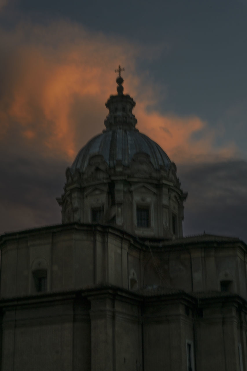 architecture, building exterior, sunset, dome, built structure, sky, cloud - sky, history, no people, outdoors, spirituality, day