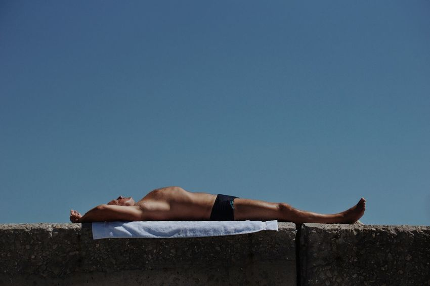 Men Shirtless Summer Sky Sleeping Shore Sunbathing Beach Towel Beach Holiday Eyes Closed  Napping Clear Sky Calm Lying